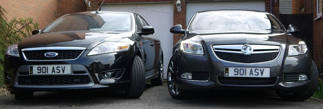 Front view of a Ford Mondeo and Vauxhall Insignia side-by-side belonging to Steve Palmer