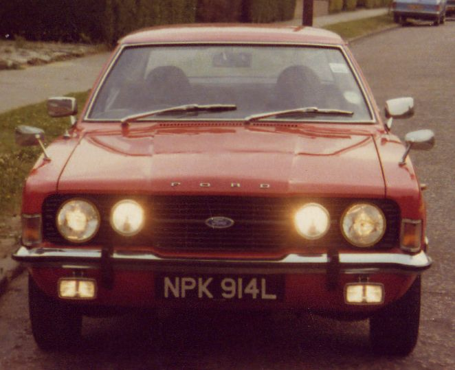 Front view of red Ford Cortina Mk 3 belonging to Steve Palmer